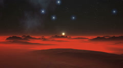 Night, Stars and Alien Planet Stock Footage