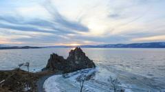 Sunset on Lake Baikal. Burkhan Cape, Olkhon island, Lake Baikal, Irkutsk regi Stock Footage