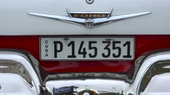 The rear of a classic old car in Havana Cuba including license plate. Stock Footage