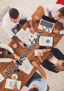 Business people group work at marketing in office, top view Stock Photos