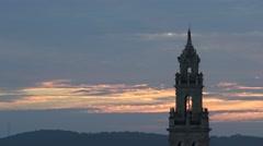 4K, Aerial beautiful sunset of Catholic church in Jerez de los Caballeros-Dan Stock Footage