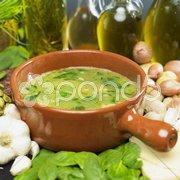 Soup (bouillon) with spinach Stock Photos