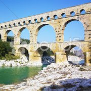 Roman aqueduct, Pont du Gard, Provence, France Stock Photos