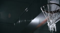 Shooting Ball in Wet Basket Stock Footage
