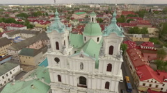 Amazing aerial footage of an old orthodox church, Grodno, Belarus Stock Footage