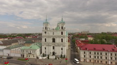 Aerial footage of an old orthodox church in Grodno, Belarus Stock Footage