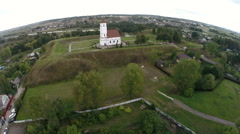 Aerial footage of an old orthodox christian church, Zaslavl, Belarus Stock Footage