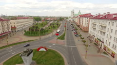 Aerial shot of an old european town, Grodno, Belarus Stock Footage