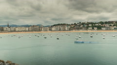 San Sebastian City Skyline with boats and the beach, Spain. Timelapse Stock Footage
