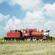 Memorial of steam locomotive, Gregorio Arlee Manalich sugar factory, Cuba Stock Photos