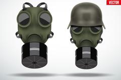 Military helmets with gas mask Stock Illustration