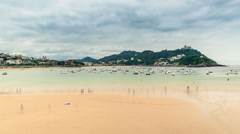 San Sebastian Concha Beach with people, Spain. Time Lapse Stock Footage