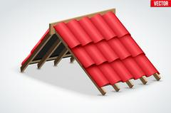 Icon of Roof with Red Ceramic Cover Stock Illustration