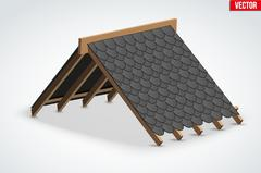 Icon of Roof with shingles bitumen roofing cover Stock Illustration