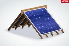 Icon Roof with Solar Panel Cover Stock Illustration