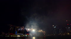 Singapore 50 years National Day dress rehearsal Marina Bay fireworks Stock Footage