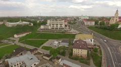 Aerial footage of a beautiful european town, Grodno, Belarus Stock Footage