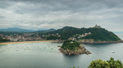San Sebastian Bay and Beach with dynamic clouds, Spain. Timelapse Stock Footage