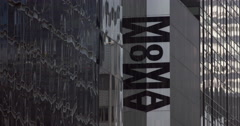 Static shot of Museum of Modern Art exterior in New York City Stock Footage