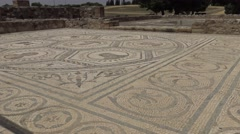 4K The ruins of roman mosaic with faces of a gods at the ancient city-Dan Stock Footage