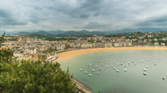 High angle Time Lapse of San Sebastian Concha Bay, Spain Stock Footage