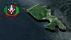 Barahona with Coat Of Arms Animation Map Stock Footage