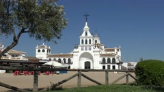 4K The Hermitage of El Rocío. The Church is home to the Virgin in Almonte-Dan Stock Footage