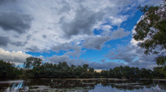 4k Amazing clouds timelapse with reflections on marshland lake surface Stock Footage