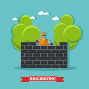 People build bricks wall. Construction site concept vector banner Stock Illustration