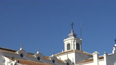 4K People in Hermitage of El Rocío. The Church is home to the Virgin-Dan Stock Footage