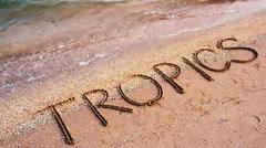 Inscription on sand tropics. Stock Footage