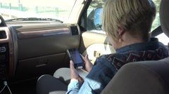 4K Woman Using Mobile Phone As Navigation Device In Car Driving at Spain-Dan Stock Footage
