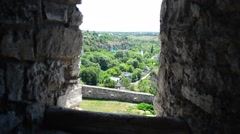 Kamenetz-Podolsk fortress view from the window. Ukraine.  Stock Footage