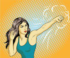 Young beautiful business woman punching and boxing. Concept vector poster in Stock Illustration