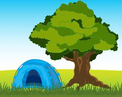Tent under tree Stock Illustration