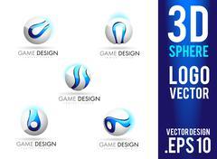 3D Sphere Logo Design Vector Stock Illustration
