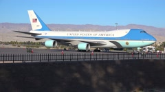 Air Force One sits on the tarmac at an airport in Palm Springs, California. Stock Footage