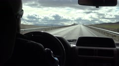 4K Man driving a car in long road through beautiful countryside in Spain-Dan Stock Footage