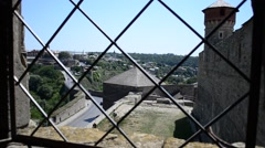 Fortress view from the window, lattice. Stock Footage