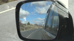 4K Car mirror while driving in long road through beauty countryside in Spain-Dan Stock Footage
