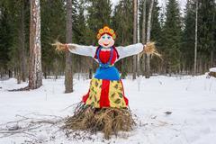 Bright beautiful effigy of Maslenitsa. Stock Photos