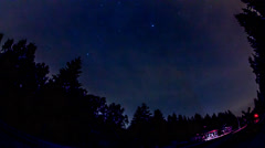 4k Nightsky time-lapse at small forest station mountain range Harz Stock Footage