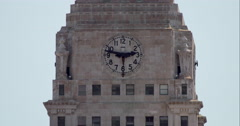 Con Edison clock tower in New York City on a hot summer day Stock Footage