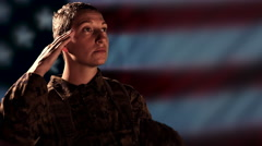 4K Woman Military Soldier Saluting, American Flag, Army Veteran Background Stock Footage