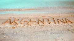 The inscription Argentina on sand. Stock Footage