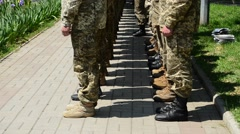 Adoption of the oath by marines, Berdyansk, Ukraine Stock Footage