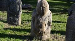 Polovtsian stone statues. Ukraine. Stock Footage