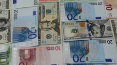 Notes of euro and dollars. Stock Footage
