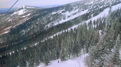 Ski slopes view from Ski track in slowmotion. 1920x1080 Stock Footage