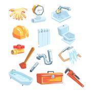Plumbing Related Instruments And Objects Set Stock Illustration